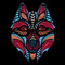 Patterned colored head of the wolf. African / indian / totem / tattoo design