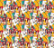 Tourism crowd people color seamless pattern.