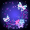 Glowing background with flowers and butterflies
