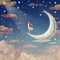 Illustration of night sky with clouds, moon and stars