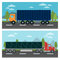 Cargo Transportation. Truck and Trailer. Delivery Trucks