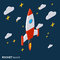 Rocket launch, project startup vector illustration