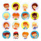 Collection of kids avatars,cute cartoon boys and girls faces.