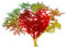 Tree pastel colored gradient and red heart-shaped isolated on w