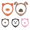 Animal heads for pointing on map: dog, cat, pig, bear, panda