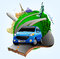 Vector Small Green Planet with Blue Travel Car together with Plane