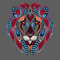 Patterned colored head of the lion. African / indian / totem / tattoo design. It may be used for design of a t-shirt, bag, postcar
