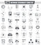 Vector Network technology black icons set. Dark grey classic icon design for web.