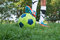 Close up of a soccer ball and a feet of a soccer player 2