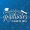 Vector illustration on seamless graduations background congratulations graduates 2016 class of, white sign for the