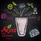 Colored chalk drawn illustration of mojito diablo with ingredients. Alcohol cocktails theme.