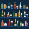 Alcohol glasses and bottles flat icon set. Different alcohol bev