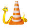 Cute Snake cartoon character with construction cone