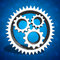 Industrial cogs gears on blue background