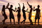 Beach party, group of young people dancing, friends