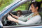 Woman driving car with a dog