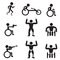 Disable Handicap Sport icons, runner, bodybuilding, shooting
