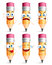 Pencil character facial expressions, emotions and hand gestures