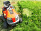 Top view of red lawn mower on garden field