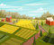 Farm fresh. Rural landscape with farmhouse, fields and trees.