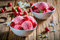 Tasty ice cream with strawberries made of fresh fruits