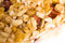 Muesli bars with dried fruit on isolated background close-up