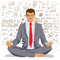 Businessman meditating with background of social network doodles sketch elements