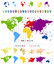 World Map and colorful continents