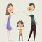 Divorce. Family conflict. Couple man and woman swear and child close his ears.
