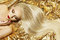Fashion Model Gold Color Hair Style, Woman Long Waving Hairstyle