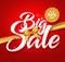 Big Sale Vector Text in a Golden Ribbon and up to 50% off Label