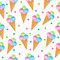 Colored ice cream seamless texture. Balls ice cream cone background. Baby, Kids wallpaper and textiles. Vector illustration