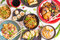 Assorted Chinese food set, toned