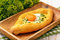 Khachapuri - traditional  caucasian pastry with cheese and eggs.