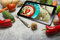 Tablet With healthy recipes blog on screen. web with nutritious