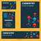 Chemistry, molecule, atomic theme business card, badge, poster a