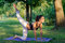 Beautiful fitness girl exercising in nature on sunny summer day