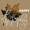 Happy Thanksgiving Day White hand lettering on golden background greeting card. Gold glitter leaf