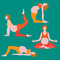 Yoga poses for pregnant women, future mother, healthy lifestyle exercises set, baby care, motherhood and fitness