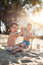 Little kids play with sand on beach and have fun;