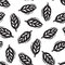 Black and white linocut leaves seamless pattern, vector