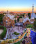 Sunset over tourists visiting Park Guell, Barcelona, Spain