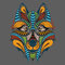 Patterned colored head of the wolf