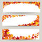 Fall leaves banner set. Swirl autumn leaf background. Nature border