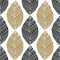 Bohemian seamless pattern with black and gold ethnic leaves. Vector textile swatch or packaging design. Tribal design