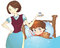 Sick child lying in bed and mother with medicine