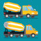Building construction concrete mixer truck. Cement transportation vector machine.
