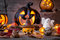 Traditional scary halloween holiday background