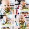 Collage photos of baby\'s first solid food