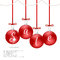 Christmas card with red balls and red bows, inscription sale. Suitable for web design and print.